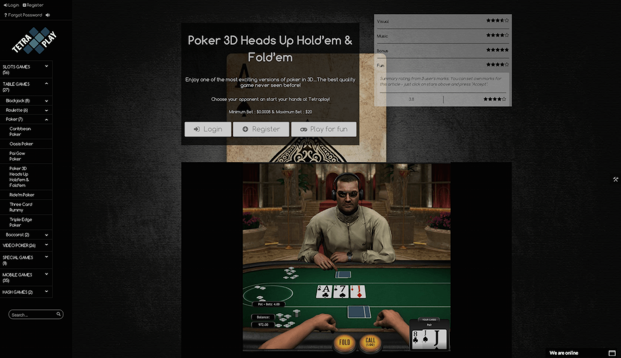 3d poker table screenshot
