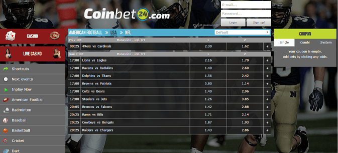 Coinbet24.com bitcoin-only sportsbook & casino