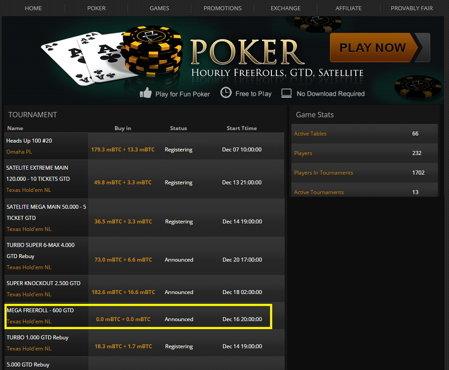 FortuneJack bitcoin poker freerolls