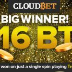 Bitcoin gambling reaches new heights with landmark 160 BTC win on a single spin at bitcoin-only casino, Cloudbet.com
