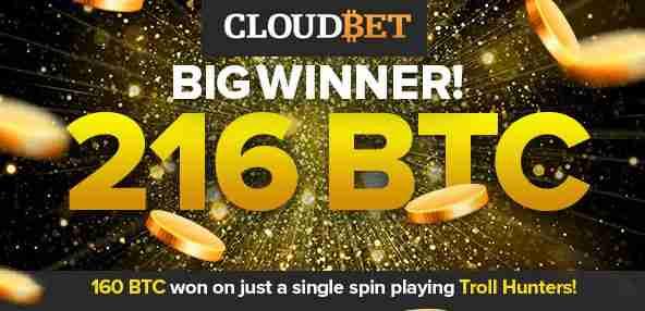 cloudbet 216 BTC winner