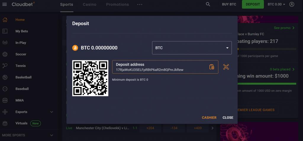 Alamat setoran bitcoin cloudbet