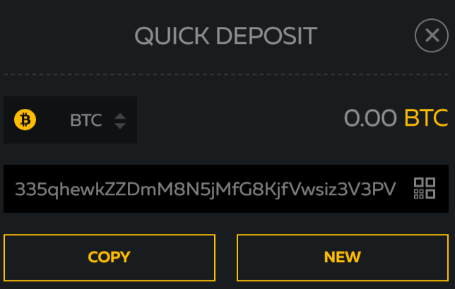 FortuneJack bitcoin deposit address