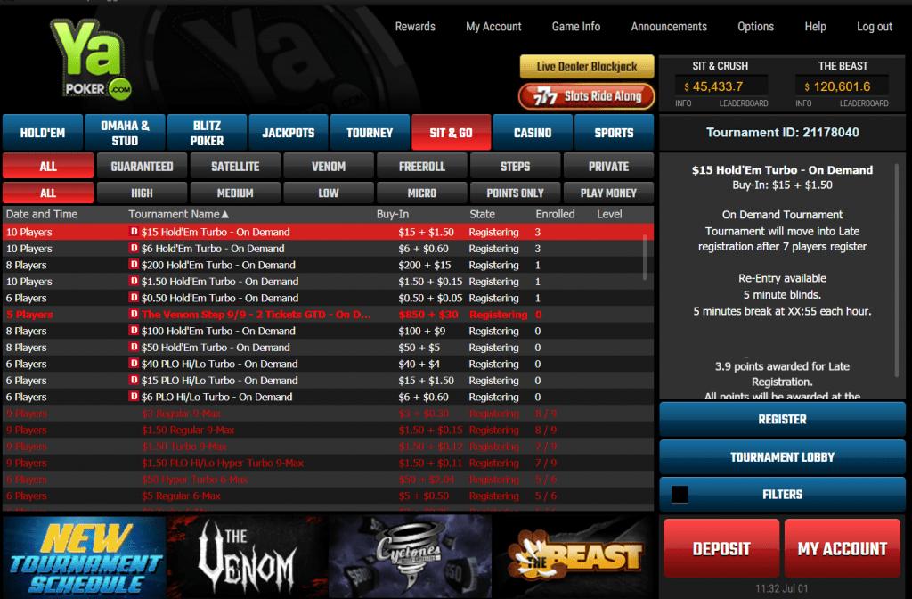 Ya Poker lobby screenshot