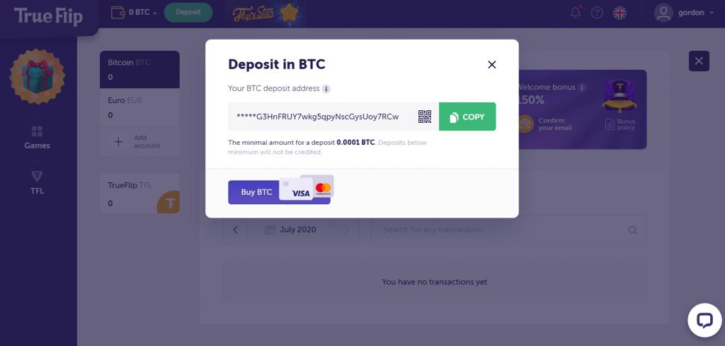 bitcoin deposit address from trueflip.io
